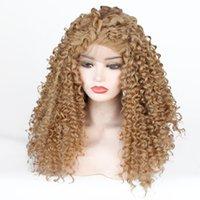 uzun doğal sarışın kıvırcık peruk toptan satış-Moda 27 # Altın Bal Sarışın Kinky Kıvırcık Tutkalsız Sentetik Dantel Ön Peruk Uzun Saç Kıvırcık Doğal Siyah Kadınlar için Peruk Isıya Dayanıklı