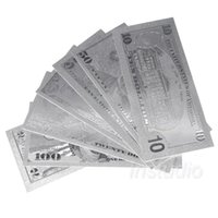 Wholesale currency paper - 7pcs set Silver Banknote Fake Money USA Foil Bills World Paper Money Collections Currency Crafts Home Decor Fake Money
