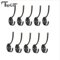 ganchos de pared de hierro rústico al por mayor-TAPCET 10 UNIDS ganchos de gancho de tela Vintage Iron Wall Hook Rustic Key Coat Bag Hat Hanger Rustic Robe Hooks para el baño casero