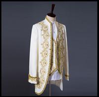 düğün için erkekler yelek ceket toptan satış-Prens Altın Nakış Blazer Suit Düğün Damat Ceket Ceket Blazer Ceket düğün smokin erkek takım elbise ceket + yelek + pantolon
