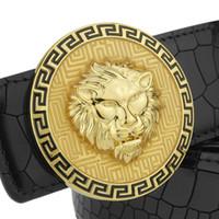 Wholesale lion buckle - High Quality Copper buckle lion belt men full grain leather designer belts Crocodile Grain round buckle wide Waist Strap Cowskin