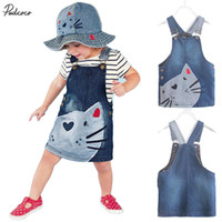 vestido de gato gatito al por mayor-2017 Hot New year hello kitty dress 1 unidades bebé niñas niños cat dress denim overoles vestidos tirantes ropa para la edad 2-7 años