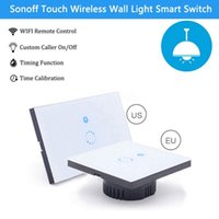 Wholesale Sonoff Touch US EU Plug Wall Wifi Light Switch Glass Panel Touch LED Lights Switch for Smart Home Wireless Remote Switch Control