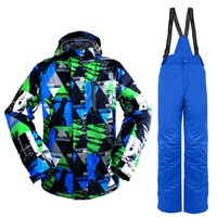 Wholesale Men Snowboard Set - Wholesale- Winter outdoors men ski suit mountain Waterproof windproof climbing skiing set Snowboard suit ski jacket men