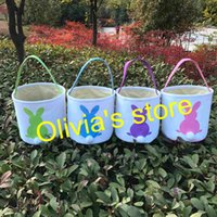 Wholesale Wholesale Canvas Bucket - Monogram personalized canvas easter tail buckets wholesale free shipping good quality canvas easter tote basket kids gift bucket