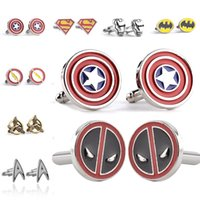 Wholesale Iron Man Cuff Links - Cufflinks Captain America Superman Batman Iron Man Spiderman The Flash Deadpool Thor Hammer Hunger Games Hand of King Cufflinks Drop ship