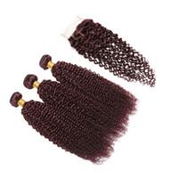 bella virgen brasileña al por mayor-Cabello virgen brasileño pelo de Bella con cierre de encaje 3 paquetes de extensión de cabello humano onda rizada 99J afro rizado rizado con cierre de encaje 4 * 4