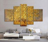 abstrakte blumen-ölgemälde großhandel-Goldene Abstrakte Glück Glückliche Bäume Handgemachte Landschaft Ölgemälde Auf Leinwand Wandkunst Bilder Für Wohnzimmer Wohnkultur