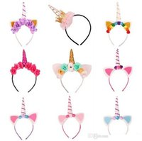Wholesale Tiara Cat Ears - Baby Fashion Unicorn Tiaras for Festival Halloween Lovely Cat Ears Girls Hair Sticks Kids Hair Bow Headband