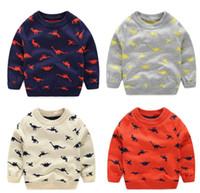 вязаный динозавр оптовых-осень зима вязаный малыш мальчик свитер свободного покроя весна мультфильм узор динозавра теплый хлопок мальчиков свитера пуловеры дети