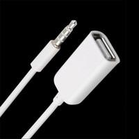 prise usb mp3 achat en gros de-3.5mm mâle AUX Audio Plug Jack À USB 2.0 Femelle Convertisseur Cordon Câble Voiture MP3