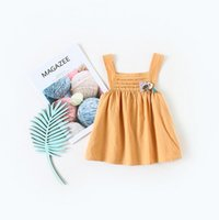 Wholesale yellow doll dress for sale - Group buy summer dress hot selling INS summer new Korean style girls sleeveless yellow dolls Dress cute high quqlity cotton dress
