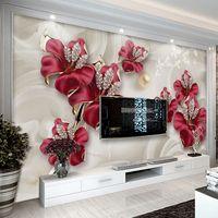 Wholesale bedroom art photos flowers online - Custom Wallpaper For Walls D Modern European Style Art Mural Diamond Jewelry Flower Living Room TV Background Photo Wallpaper