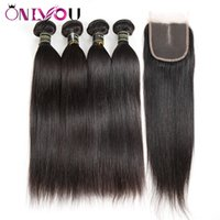 Wholesale weft hair weaving extensions closure online - Brazilian Straight Human Hair Weaves Extensions Bundles with Closure Free Middle Part Human Hair Wefts with Weaves Closure Pieces