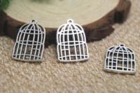 ingrosso ciondoli gabbia per uccelli-12pcs / lot Charms gabbia anticato tono argento pendenti di fascino gabbia di uccello di 2 lati 26x16mm