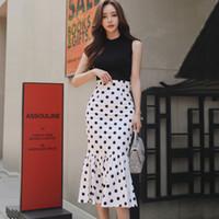 ingrosso vestito sottile dalla corea-HAGEOFLY 2018 Summer New Dress Corea Style Elegante Slim Bodycon Office Lady Sexy Casual Dot 2 Pezzi Set Abiti da donna Tute