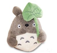 lindo peluche totoro al por mayor-25 cm Kawaii Mi Vecino Totoro Peluche Juguete Lindo Suave Muñeca Totoro con Lotus Leaf Juguetes para Niños Gato