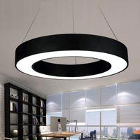 типы кругов оптовых-Современный офис LED круг подвесные светильники круглая подвеска висит кулон лампа кольцо люстра светильники кольцо-тип диаметр 40/60/80 см
