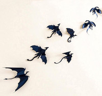 Wholesale fantasy decals - 3d dragon sticker halloween fantasy decor dinosaurs art decals wall stickers festive event party background decorations black 7pcs  set