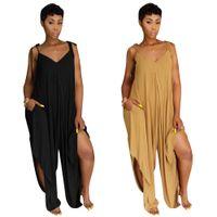 Wholesale women s jumpsuit splits - Summer jumpsuit women strap solid loose wide leg pants ladies body mujer full length split vestido overalls