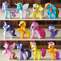 Wholesale my little pony - 12 Set Cute My little Pony Sprot Meeting inch Action Figures Cartoon Movie figurine ponies kids Doll Toy Gifts Cake Topper Xmas Gift