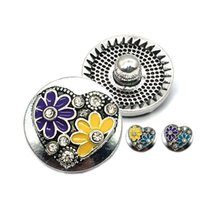 Wholesale laugh necklace - High quality flower laugh W212 18mm 20mm rhinestone metal button for snap button Bracelet Necklace Jewelry For Women Silver jewelry