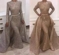 klasik desen elbise toptan satış-2018 Mermaid Abiye Jewel Uzun Kollu Benzersiz Tasarım Abiye giyim Dantel Payetler Boncuk Kristaller Örgün Abiye