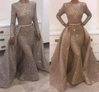 Wholesale Unique Custom - 2018 Mermaid Evening Dresses Jewel Long Sleeve Unique Design Evening Gowns Lace With Sequins Beads Crystals Formal Evening Dresses