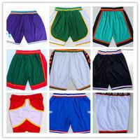 baloncesto hombres cortos al por mayor-Hot Men Cheap Old Time Pantalones cortos de baloncesto Tune Squad Pantalones cortos de malla de malla transpirable marca Fitness Fitness pantalones