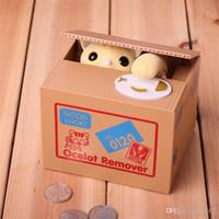 ingrosso scatole di denaro divertente-Automatico Cat Steal Coin Salvadanaio Cartoon Lovely Money Boxes Divertente scatola di risparmio per bambini Regali portatili 19 5jn cc