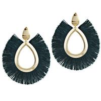 серьги с кисточкой оптовых-10 цветов Boho Fringe Earrings Waterdrop Stud Tassel Earring Elegant Candy Color Ювелирный подарок для женщин Dangler