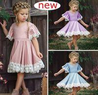Wholesale pretty sweet - INS Girl Elegant Flower Dresses for Baby Girl Children Dresses Pretty Fashion Lace Princess Dress Cotton Blend Short Sleeve Dress Sweet Pink