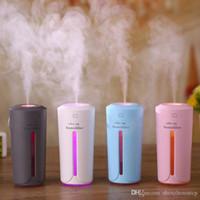ultraschall-autodiffusor großhandel-Ultraschall Luftbefeuchter Ätherisches Öl Diffusor Mit 7 Farbe Lichter Elektrische Aromatherapie USB Luftbefeuchter Auto Aroma Diffusor