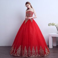 Wholesale red wedding frocks for sale - Group buy Hot Sale Custom Made Wedding Dress Gown Strapless Trailing Red Fashion wedding Dresses Cheap Wedding Frock Bride Dress
