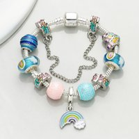 perlas de cristal de murano joyas al por mayor-Colgante arco iris Charm bracelet Europa Moda Murano Glass Beads Pulseras Finas para Las Mujeres DIY Joyería Pulseras BA037
