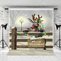 Wholesale photo background 5x7ft resale online - Dream x7ft Merry Christmas Photography Backdrop Winter Snow Scenery Wood Fence Background Xmas Holiday Party Children Photo Studio Prop