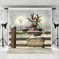 décors photo de vacances achat en gros de-Rêve 5x7ft Merry Christmas Photographie Toile de Fond Hiver Neige Paysage Clôture En Bois Fond De Noël Fête Fête Enfants Photo Studio Prop
