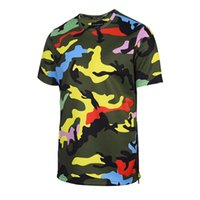 Wholesale camouflage shirt long sleeve - Bright Yellow Camouflage t shirt for Men Top Tee Casual Hip Hop Shirts Summer Outdoor Beach T-shirt Zipper Clothing Free Shipping