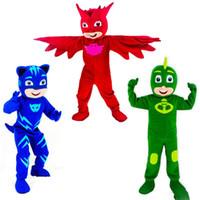 ingrosso personaggi del fumetto gatto giallo-Compleanno caldo di alta qualità Costumi mascotte Parade PJ maschera per adulti grande festa di Halloween animale