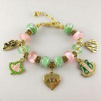 Wholesale gold ring bracelet chain online - Aka Pink Green Gold Charms Bracelet Alpha Kap Alpha Sorority Gold Jewelry Bracelet