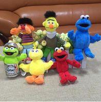 Wholesale plush birds for sale - 6pcs set Sesame Street plush toy Elmo Big Bird Erine Bert Cookie Monster Stuffed Plush Dolls Toys Pendant Keychain bag hanging toy KKA6035