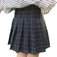Wholesale Mini Uniform - 2017 Autumn Winter Girls Pleated Half Skirts Schoolgirls Skirt Uniforms Cos Harajuku Plaid Mini Plaid Skirt Female