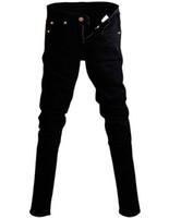 черные брюки цепи оптовых-Мужские Корейский Дизайнер Черный Slim Fit Джинсы Панк Прохладный Супер Узкие Брюки С Цепи Для Мужчин