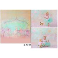 ordinateur de peinture en aérosol achat en gros de-Ordinateur peint bébé nouveau-né photographie toile de fond rose vinyle tissu ballet filles enfants fête d'anniversaire photomaton fond