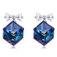 ingrosso orecchini di prua blu-Hemiston 100% 925 Sterling Silver CZ Blue Square White Bow Ear Studs Orecchini Donna Gioielli Regalo Classico YHE0021B-MU