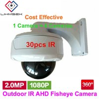 Wholesale outdoor wide angle camera - Lihmsek Outdoor IR Camera Fisheye AHD 360 Degree 1080P 2.0 Megapixel 1.2mm wide angle fisheye lens Security Camera 30pcs IR LEDs