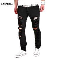 super gerippte jeans großhandel-LASPERAL 2018 New Black Zerrissene Jeans Männer mit Löchern Denim Super Skinny Marke Slim Fit Jean Hosen Zerkratzt Biker Coole Jeans 2XL