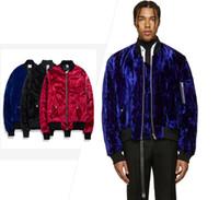 Wholesale black velvet long coat - 2018 in stock TOP NEW KANYE WEST OVERSIZE Velvet Bomber men Jacket hiphop Fashion Casual zipper pocket Jacket coat Blue black red M-XL