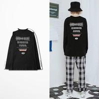Wholesale Funny Korean T Shirts - Ulzzang Korean Hip Hop High Street Long Sleeve T-shirt Men Fashion Design Casual Wear Kanye West Funny T Shirts Male