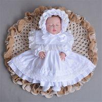 yaka kollu dantel elbisesi toptan satış-2018 bebek uzun kollu elbise bebek prenses elbise dantel cap ile yeni doğan elbise kız elbise kız